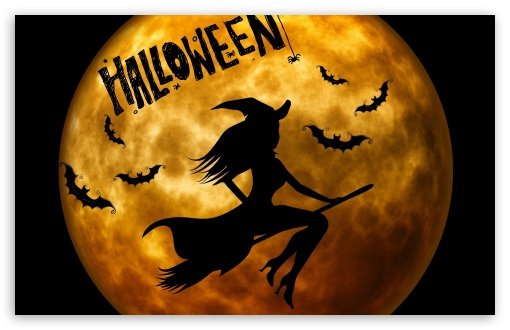 Halloween witch on broom orange 4k hd desktop wallpaper for 4k ultra hd tv wide ultra - Image d halloween gratuite ...