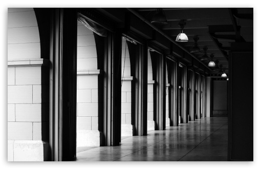 Hallway BW HD desktop wallpaper : High Definition : Fullscreen
