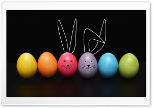 Happy Easter 2019 Easter Eggs, Funny Bunny HD Wide Wallpaper for 4K UHD Widescreen desktop & smartphone
