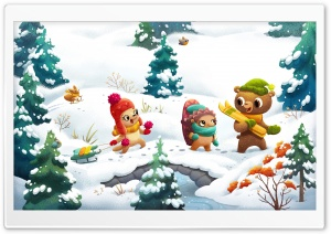 Happy Friends Winter Illustration Ultra HD Wallpaper for 4K UHD Widescreen desktop, tablet & smartphone