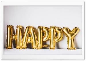Happy Golden Balloons Ultra HD Wallpaper for 4K UHD Widescreen desktop, tablet & smartphone