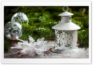 Happy New Year 2017, Snowflakes, Balls, Fir Tree Branch, Lantern HD Wide Wallpaper for Widescreen