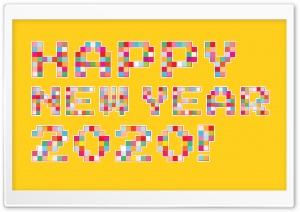 Happy New Year 2020 Pixel Art Ultra HD Wallpaper for 4K UHD Widescreen desktop, tablet & smartphone
