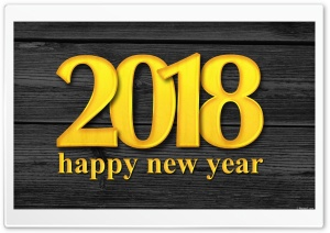 Happy New Year 2018 HD Wide Wallpaper for Widescreen