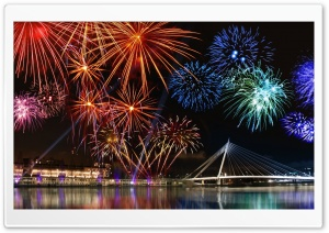 Happy New Year, Fireworks Show Ultra HD Wallpaper for 4K UHD Widescreen desktop, tablet & smartphone