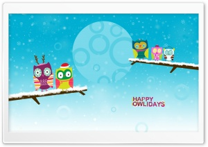 Happy Owlidays by PimpYourScreen HD Wide Wallpaper for 4K UHD Widescreen desktop & smartphone