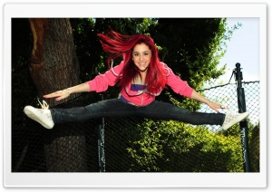 Happy Redhead Girl Jumping HD Wide Wallpaper for Widescreen