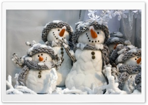 Happy Snowmen HD Wide Wallpaper for Widescreen