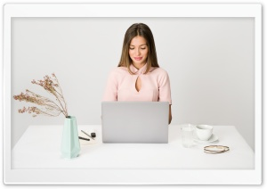 Happy Woman at Desk