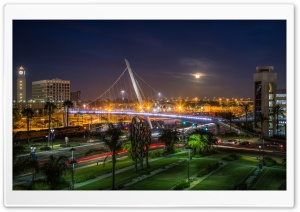 Harbor Drive Pedestrian Bridge at Night HD Wide Wallpaper for Widescreen
