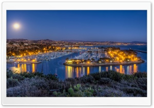 Harbor Moon HD Wide Wallpaper for Widescreen