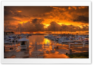 Harbour Sunset HD Wide Wallpaper for Widescreen