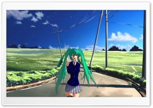 Hatsune Miku Green Hair HD Wide Wallpaper for 4K UHD Widescreen desktop & smartphone