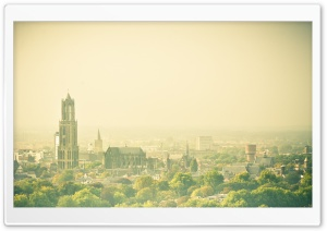 Hazy Utrecht, View From The Conclusion Flat Ultra HD Wallpaper for 4K UHD Widescreen desktop, tablet & smartphone