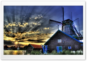HDR Sunrise Windmill HD Wide Wallpaper for 4K UHD Widescreen desktop & smartphone