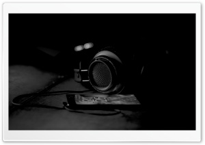 Headphones, Black and White HD Wide Wallpaper for 4K UHD Widescreen desktop & smartphone