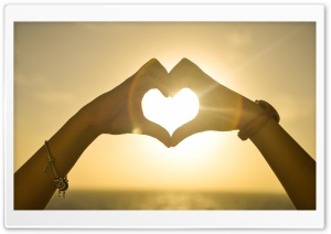 Heart Hands Sunset HD Wide Wallpaper for Widescreen
