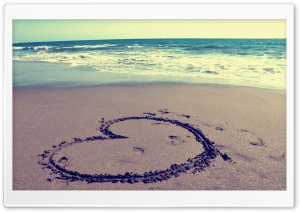 Heart on Beach HD Wide Wallpaper for Widescreen