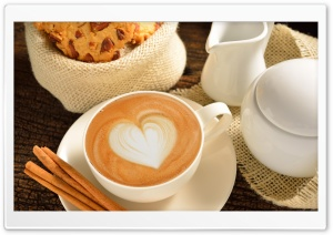 Heart On Coffee Foam Cinnamon HD Wide Wallpaper for Widescreen