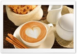 Heart On Coffee Foam Cinnamon HD Wide Wallpaper for Widescreen