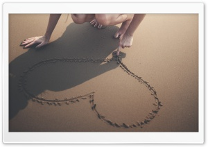 Heart Sand Beach Summer Love HD Wide Wallpaper for Widescreen