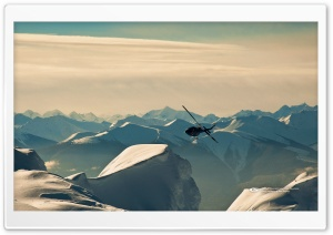 Helicopter Over Mountains HD Wide Wallpaper for 4K UHD Widescreen desktop & smartphone