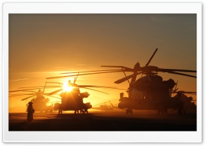 Helicopters At Sunset HD Wide Wallpaper for 4K UHD Widescreen desktop & smartphone