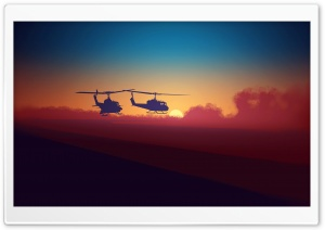 Helicopters Illustration HD Wide Wallpaper for 4K UHD Widescreen desktop & smartphone