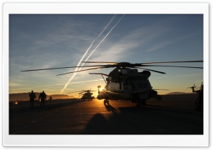 Helicopters In The Sunset HD Wide Wallpaper for Widescreen