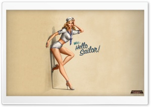 """Hello Sailor!"" Pin-Up Style HD Wide Wallpaper for Widescreen"