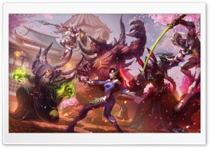 Heroes of the Storm, Hanamura Showdown, D.Va, Cassia, Genji HD Wide Wallpaper for Widescreen