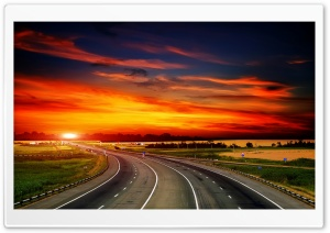 Highway At Sunset HD Wide Wallpaper for 4K UHD Widescreen desktop & smartphone
