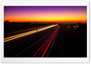 Highway Light Trails HD Wide Wallpaper for Widescreen