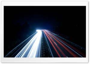 Highway Light Trails At Night HD Wide Wallpaper for Widescreen