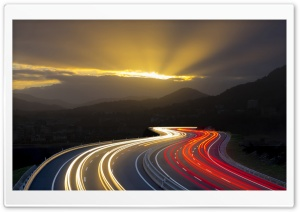 Highway Long Exposure Light Trails HD Wide Wallpaper for 4K UHD Widescreen desktop & smartphone