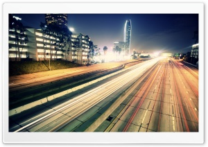 Highway Night Traffic HD Wide Wallpaper for Widescreen