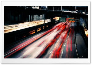 Highway Traffic At Night HD Wide Wallpaper for Widescreen
