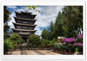 Hilltop Pagoda - Lijiang, China HD Wide Wallpaper for 4K UHD Widescreen desktop & smartphone