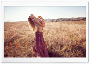 Hippie Girl Outdoor HD Wide Wallpaper for Widescreen