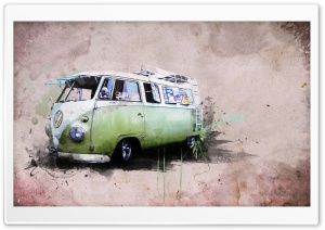 Hippies Van HD Wide Wallpaper for 4K UHD Widescreen desktop & smartphone