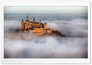 Hohenzollern Castle Fog, Germany HD Wide Wallpaper for Widescreen