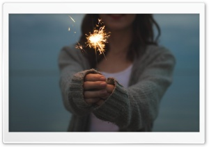 Holding Sparkler HD Wide Wallpaper for Widescreen