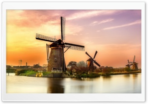 Holland Mill Sunset HD Wide Wallpaper for Widescreen