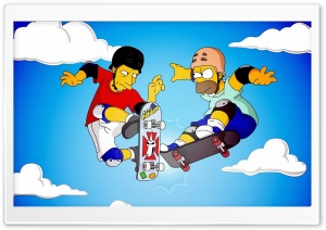 Homer And Tony Hawk HD Wide Wallpaper for 4K UHD Widescreen desktop & smartphone