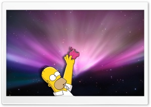 Homer Loves Donuts HD Wide Wallpaper for 4K UHD Widescreen desktop & smartphone