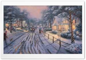 Hometown Christmas Memories by Thomas Kinkade HD Wide Wallpaper for Widescreen
