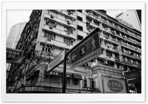 Hong Kong Buildings Black And White HD Wide Wallpaper for Widescreen
