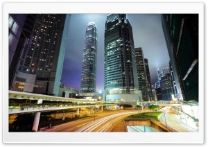 Hong Kong Downtown Night Lights HD Wide Wallpaper for Widescreen