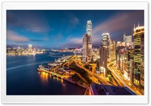 Hong Kong Harbour Night Lights HD Wide Wallpaper for Widescreen