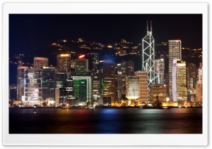 Hong Kong Lights HD Wide Wallpaper for Widescreen